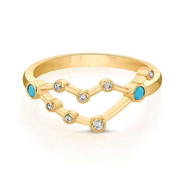 Gold Capricorn Astral Ring with Aquamarine Stones