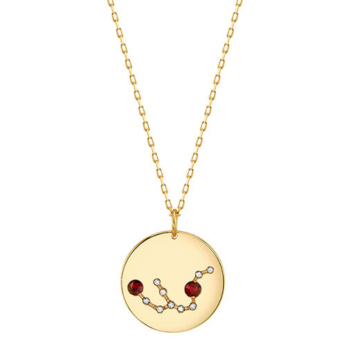 Gold Aquarius Astral Necklace with Garnet Crystals
