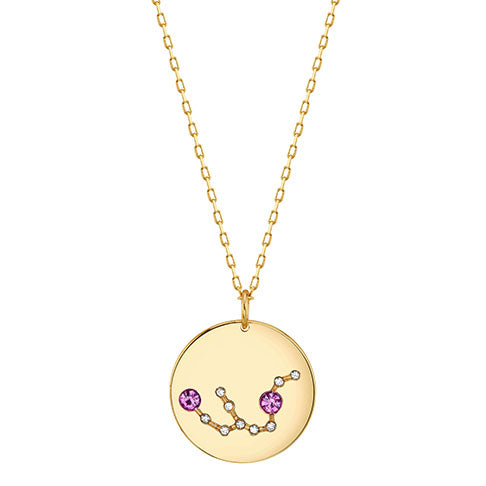 Gold Aquarius Astral Necklace with Amethyst Crystals