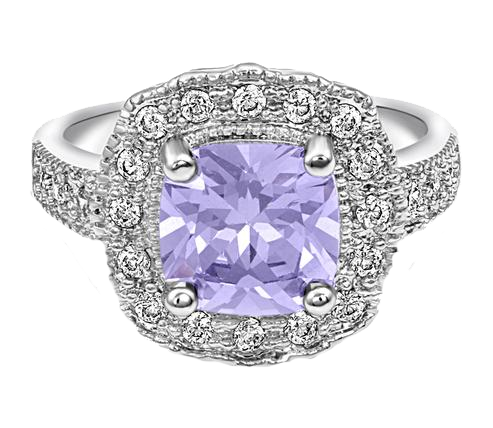 Silver Halo Ring with Lavender Center Stone