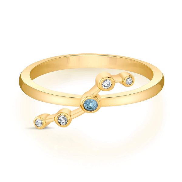 Gold Aries Astral Ring with Aquamarine Stones