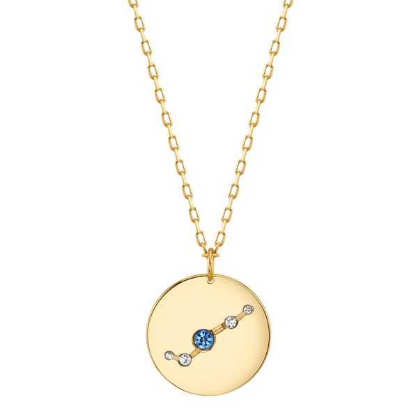 Gold Aries Astral Necklace with Aquamarine Stones