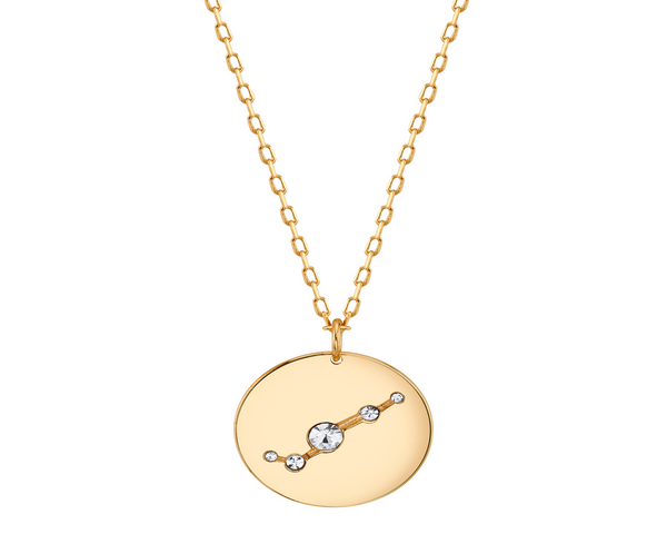 Gold Aries Astral Necklace with Clear Stones