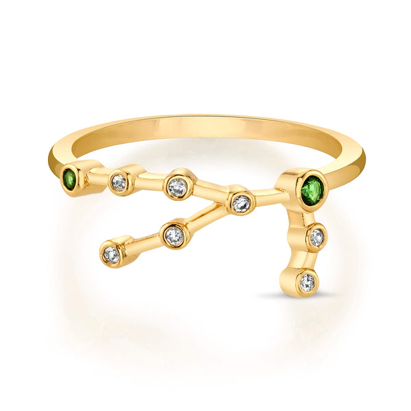 Gold Taurus Ring with Emerald Stones