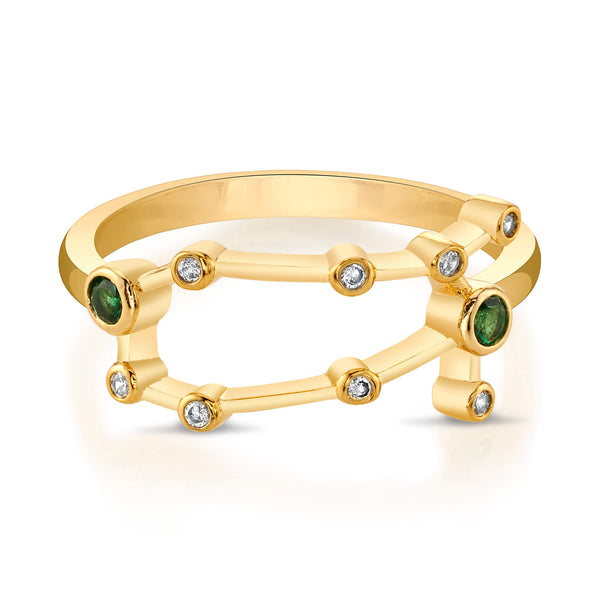 Gold Gemini Ring with Emerald Stones