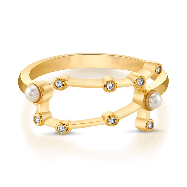 Gold Gemini Ring with Faux Pearls