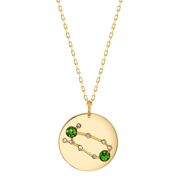 Gold Gemini Astral Necklace with Emerald Stones