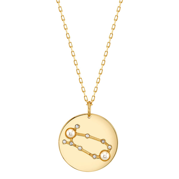 Gold Gemini Astral Necklace with Faux Pearls