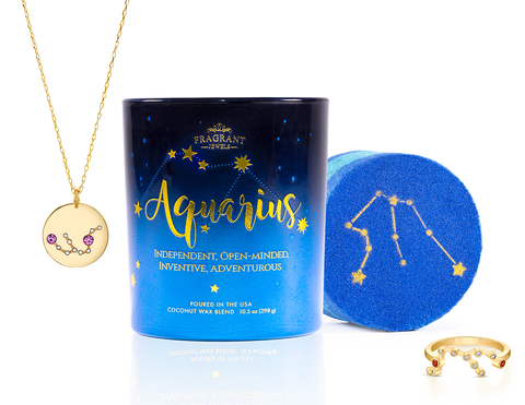 Aquarius - Zodiac Collection - Candle and Bath Bomb Set