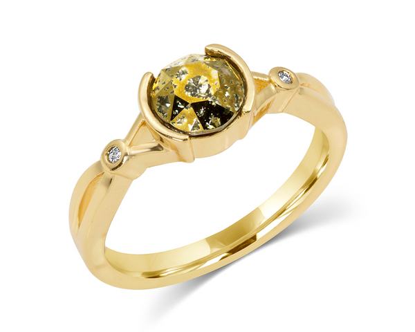 Gold Patina Swarovski Crystal Ring