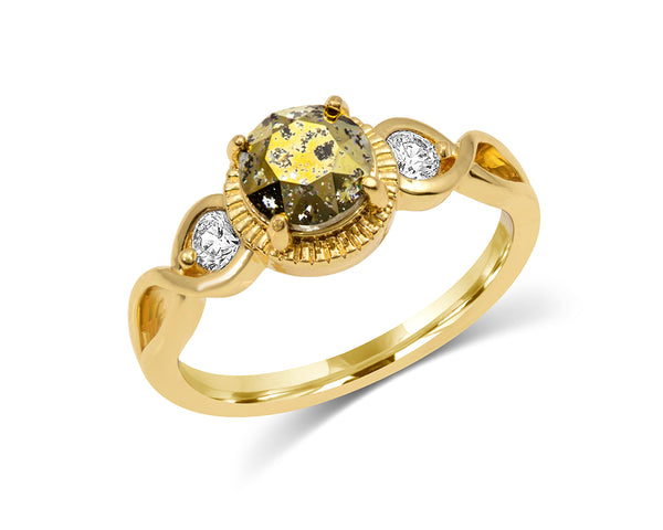 Gold Ring with Patina Swarovski Crystals and Yellow Center Stone