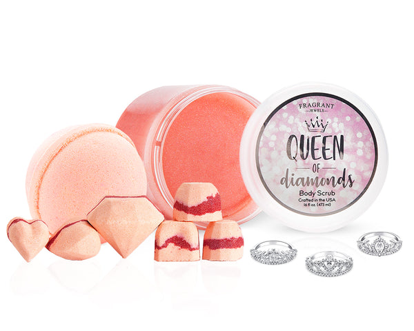 Queen of Diamonds Body Scrub and Bath Bombs with Ring