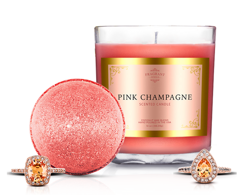 Champagne Bath Bomb and Candle with Rings