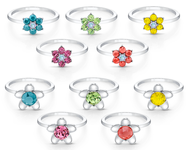 Daisies Ring Collection with Crystal Aurore Boreale