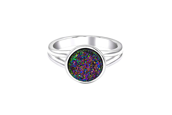 Rainbow Quartz Geode Silver Ring