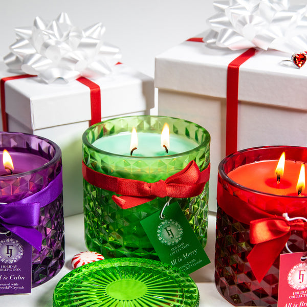 Holiday Satin Candle Trio - Candles with Swarovski® Crystals