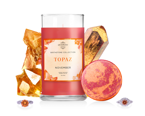 November Birthstone: Topaz Candle and Bath Bomb Gift Set
