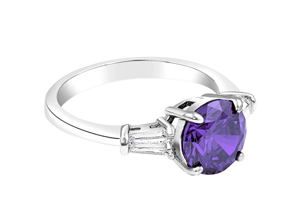 Silver Ring with Purple Amethyst Center Stone Crystal