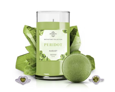 August Birthstone: Peridot Candle Bath Bomb Gift Set