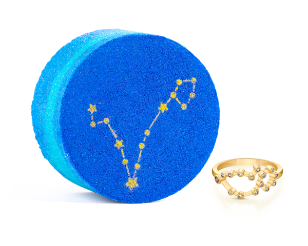 Pisces Bath Bomb with Pisces Gold Ring
