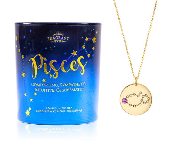 Pisces Candle with Pisces Gold Necklace