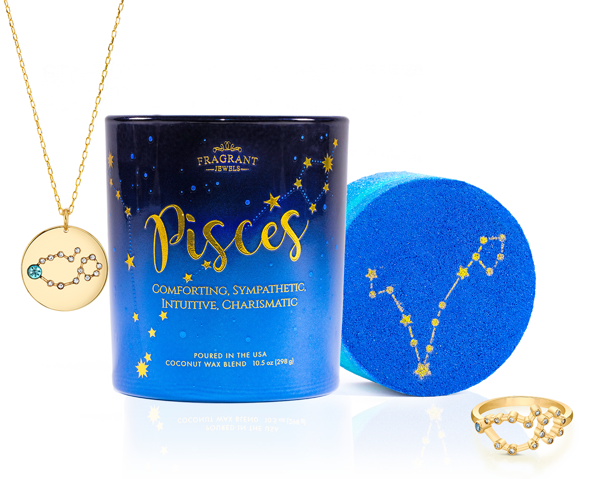 Pisces - Zodiac Collection - Candle and Bath Bomb Set