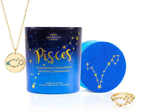 Pisces Astral Ring Bath Bomb and Necklace Candle