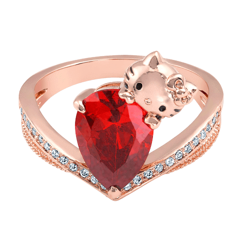 Rose Gold Hello Kitty Ring with Red Center Stone