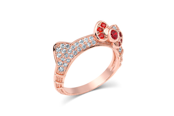 Rose Gold Cat Ears Hello Kitty Ring