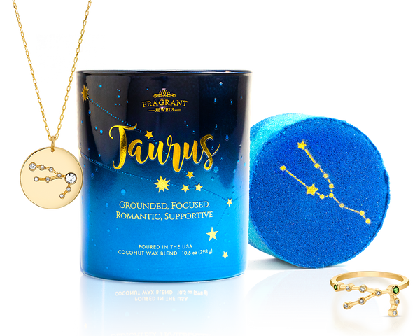 Taurus Ring Bath Bomb and Necklace Candle