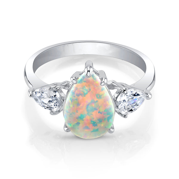 Opal Statement Ring with Silver Band