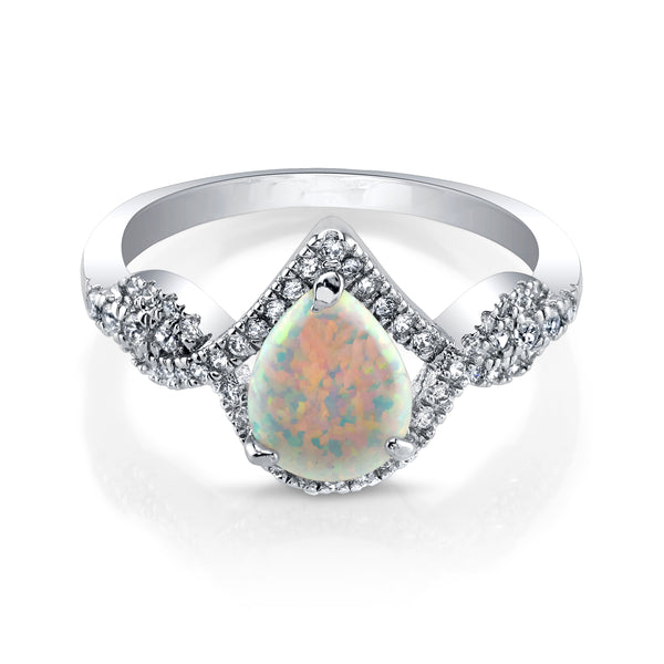 Silver Opal Ring with Plated Band