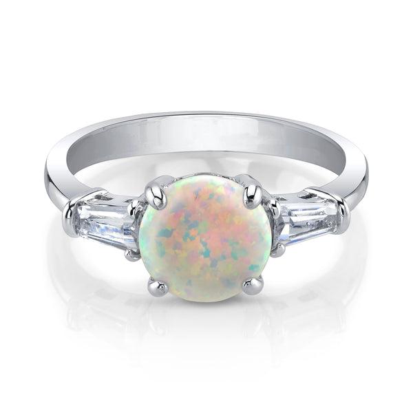 Opal Center Stone Silver Ring with Clear Stones