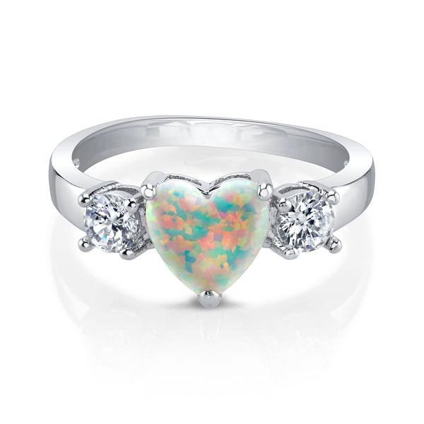 Heart Shaped Opal Silver Ring