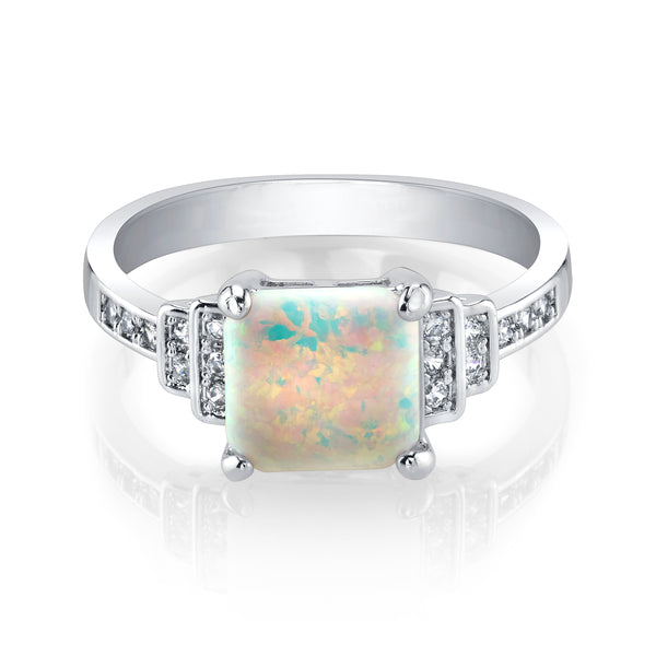 Squared Opal Ring with Plated Band