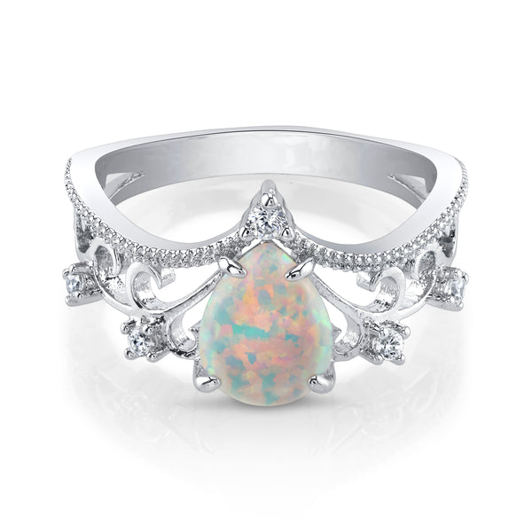 Laced Silver Opal Ring