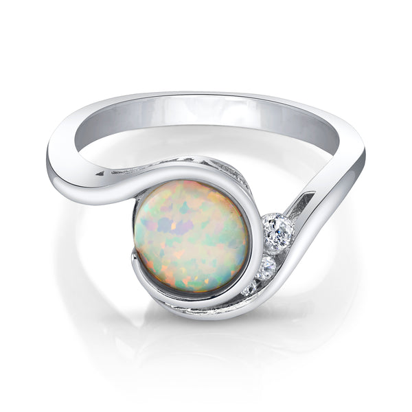 Opal Solitaire Silver Ring