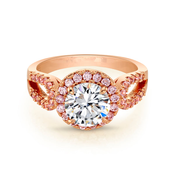 Rose Gold Ring with Round Clear Center Stone and Halo