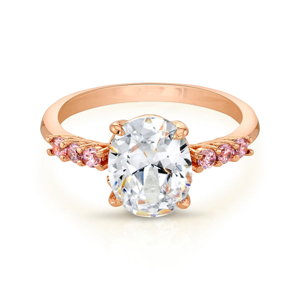 Rose Gold Ring with Oval Center Stone