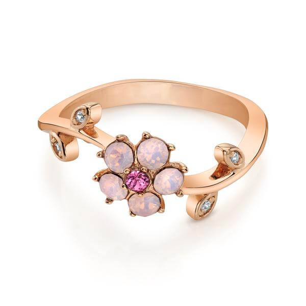 Rose Gold Cherry Blossom Ring with Swarovski Crystals