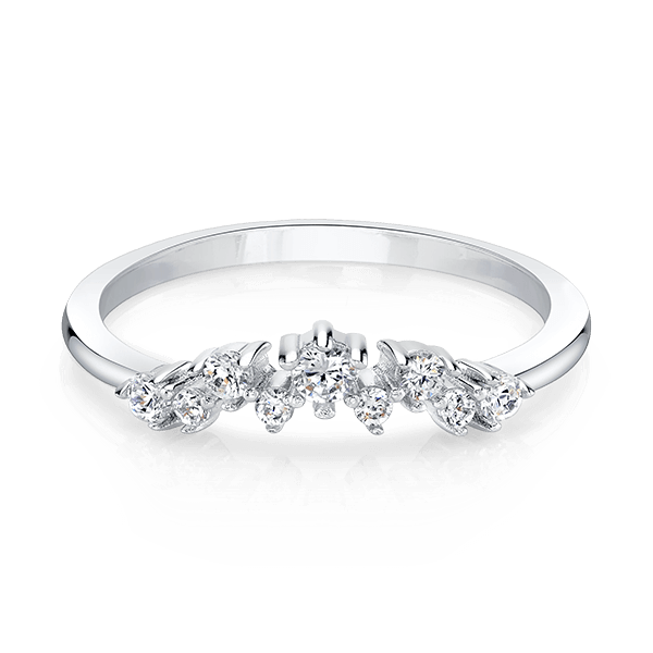 Crown Silver Stackable Ring with Swarovski Crystals
