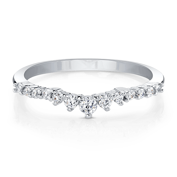 Silver Stackable Ring with Clear Swarovski Crystals