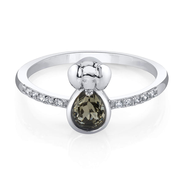 Elephant Silver Ring with Night Swarovski Crystal Center Stone