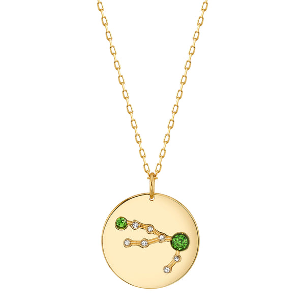 Gold Taurus Necklace with Emerald Stones