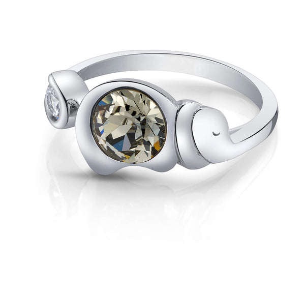 Elephant Silver Ring with Night Swarovski Crystals