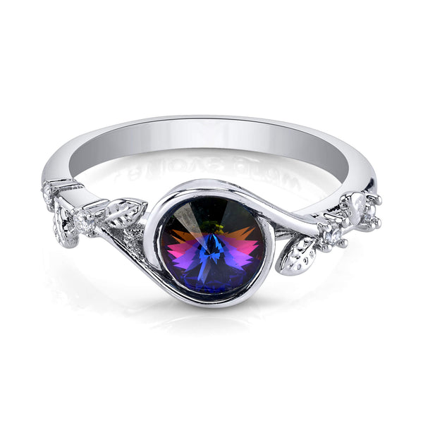 Round Swarovski Ring with Rhodium Pleated Band