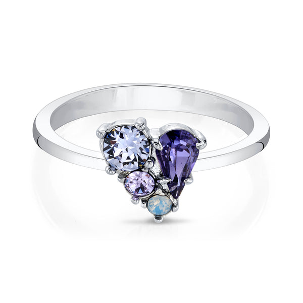 Choose Joy Silver Ring with Purple Crystals