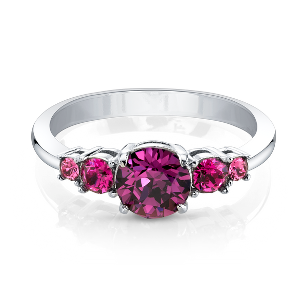 Choose Joy Silver Ring with Purple Center Crystals