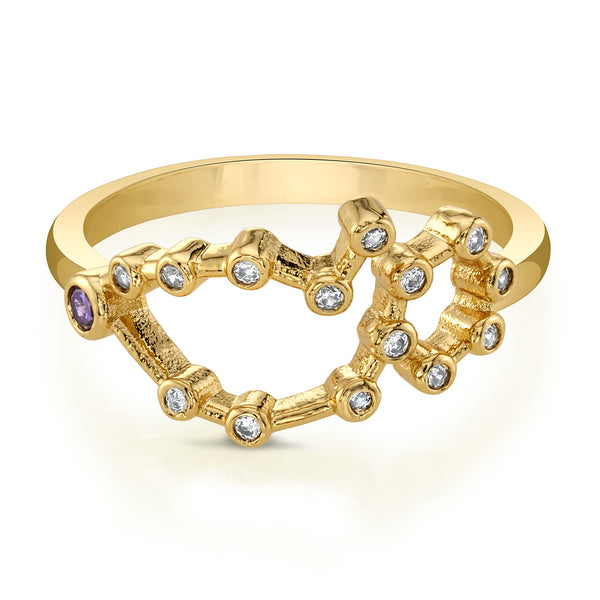 Gold Pisces Ring with Amethyst Stones