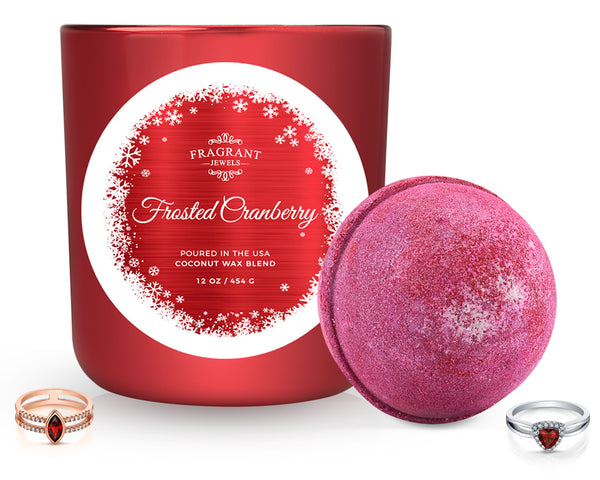 Frosted Cranberry - Candle and Bath Bomb Set